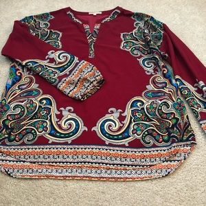 Gibson Latimer Paisley V Neck Long Sleeve